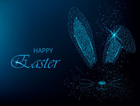 Easter bunny ears silhouette. Polygonal rabbit ears. Vector illustration on blue background.