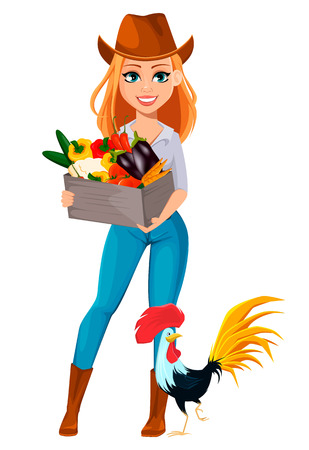 Young pretty farmer woman in cowboy hat. Cheerful gardener woman cartoon character holding a box of vegetables and standing near rooster. Vector illustration isolated on white background