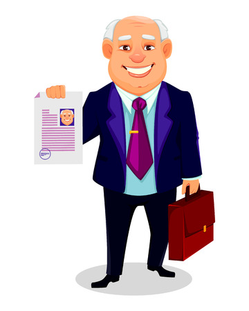 Cheerful fat business man. Businessman cartoon character holds briefcase and document. Vector illustration.