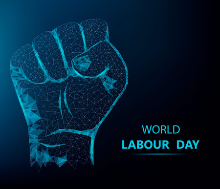 Happy Labor Day greeting card with polygonal hand on blue background. Vector illustration.