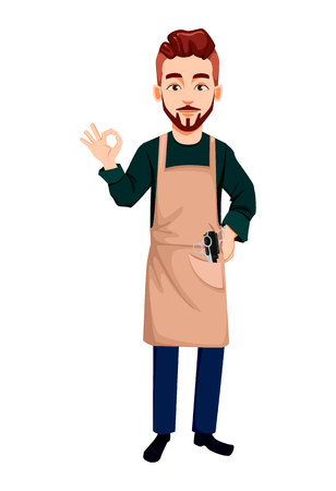 Master barber. Handsome cartoon character showing ok sign. Vector illustration isolated on white background Иллюстрация