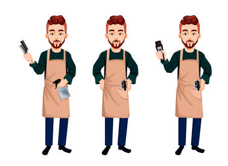 Master barber, set of three poses. Handsome cartoon character holds hairdresser's tools, stands straight and holds clipper. Vector illustration