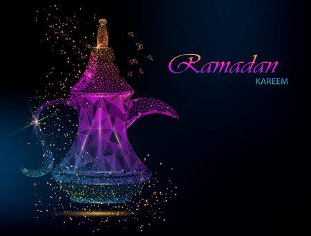 Ramadan Kareem beautiful greeting card with rainbow Arabic coffee. Usable for invitation, flyer, banner. Polygonal vector illustration for holiday