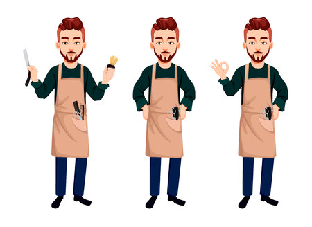 Master barber, set of three poses. Handsome cartoon character holds straight razor, shows ok sign and stands straight. Vector illustration Иллюстрация