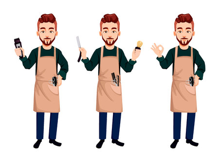 Master barber, set of three poses. Handsome cartoon character holds clipper, holds straight razor and shows ok sign. Vector illustration