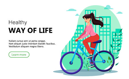 Beautiful woman riding a bicycle in the city. Healthy way of life concept. Usable for landing page for website or application. Vector illustration Illusztráció