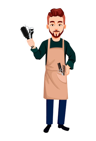 Barber man in hipster style holding hairdresser's tools. Handsome cartoon character. Beard shave service. Vector illustration isolated on white background