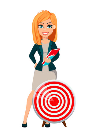 Concept of modern business woman. Cheerful cartoon character businesswoman with blonde hair stands near target. Vector illustration.