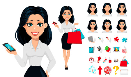 Concept of modern young business woman, pack of body parts, emotions and things. Cartoon character businesswoman. Make your personal design. Vector illustration