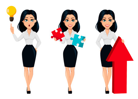 Concept of modern young business woman, set of three poses. Cartoon character businesswoman has a good idea, holds two pieces of puzzle and stands near big red arrow. Vector illustration