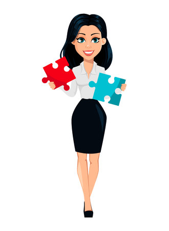 Concept of modern young business woman. Cartoon character businesswoman holds two pieces of puzzle. Vector illustration on white background