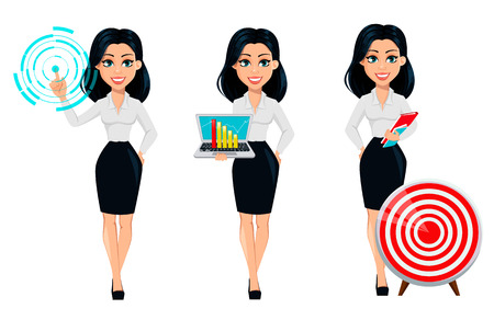 Concept of modern young business woman, set of three poses. Cartoon character businesswoman points on hologram, holds laptop and stands near target. Vector illustration