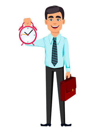 Concept of handsome smiling confident business man. Cartoon character businessman holds alarm clock and briefcase. Vector illustration on white background