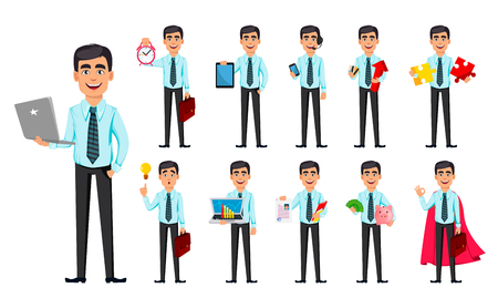 Business man, set of eleven poses. Cartoon character with different things. Concept of young handsome smiling businessman in office style clothes - stock vector