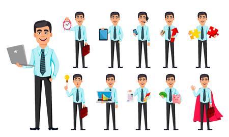 Hombre de negocios, conjunto de once poses. Personaje de dibujos animados con diferentes cosas. Concepto de joven empresario sonriente guapo en ropa de estilo de oficina - vector de stock