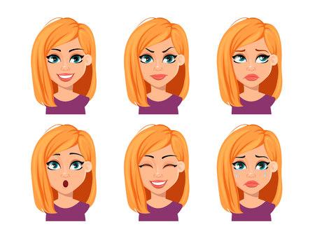 Expresiones faciales de mujer con cabello rubio. Diferentes emociones femeninas. Hermoso personaje de dibujos animados. Ilustración vectorial sobre fondo blanco.