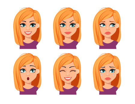 Facial expressions of woman with blonde hair. Different female emotions. Beautiful cartoon character. Vector illustration on white background.