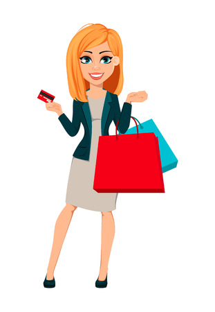 Concept of modern business woman. Cheerful cartoon character businesswoman with blonde hair holds shopping bags and credit card. Vector illustration.
