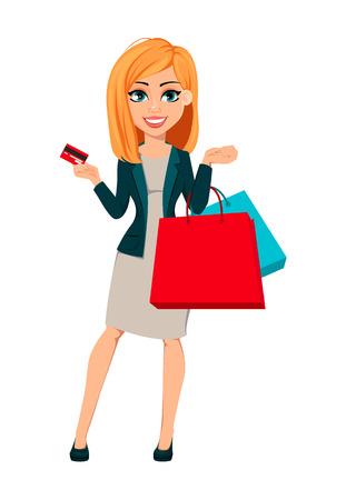 Concepto de mujer de negocios moderna. Empresaria de personaje de dibujos animados alegre con cabello rubio tiene bolsas de compras y tarjeta de crédito. Ilustración de vector.