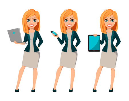Concept of modern business woman, set of three poses. Cartoon character businesswoman with blonde hair holds laptop, holds smartphone and holds tablet. Vector illustration.