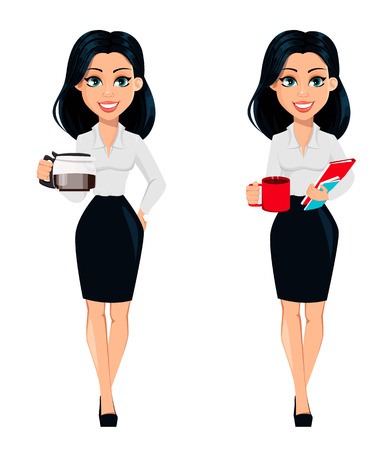 Concept of modern young business woman, set of two poses. Cartoon character businesswoman holds coffee pot and holds a cup of coffee and documents. Vector illustration 向量圖像