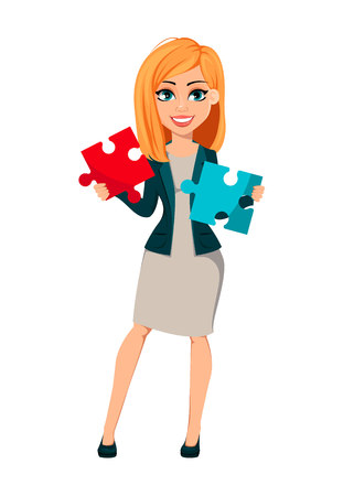 Concept of modern business woman. Cheerful cartoon character businesswoman with blonde hair holds two pieces of puzzle. Vector illustration.