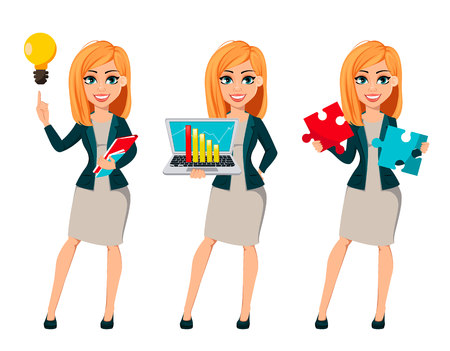 Concept of modern business woman, set of three poses. Cartoon character businesswoman with blonde hair has a good idea, holds laptop and holds two pieces of puzzle. Vector illustration. 向量圖像