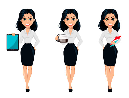 Concept of modern young business woman, set of three poses. Cartoon character businesswoman holds tablet, holds coffee pot and holds documents. Vector illustration