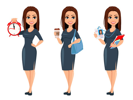Modern young business woman holds alarm clock, holds coffee and holds documents and badge. Cheerful cartoon character businesswoman in gray dress, set of three poses. Vector illustration
