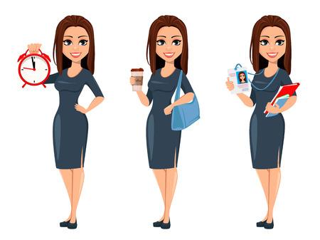 Mujer de negocios joven moderna tiene reloj despertador, café y documentos e insignia. Empresaria de personaje de dibujos animados alegre en vestido gris, conjunto de tres poses. Ilustración vectorial