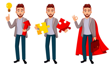 Handsome confident business man, set of three poses. Cartoon character businessman in casual clothes has a good idea, holds puzzle and shows ok sign. Vector illustration