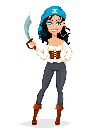 Pirate woman. Beautiful lady cartoon character in carnival costume. Vector illustration. Banque d'images - 122555883
