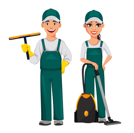 Cleaner man holds rubber squeegee and woman holds vacuum cleaner. Cheerful cartoon characters, set of two poses. Cleaning service concept. Vector illustration isolated on white background