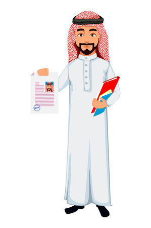 Modern Arab business man holds documents. Successful businessman cartoon character. Vector illustration