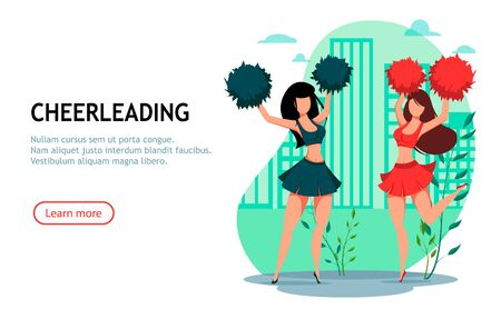 Two cheerleader women with pom poms, beautiful cartoon characters. Usable for landing page, website and other. Vector illustration
