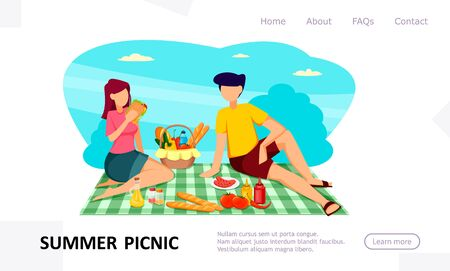 Summer picnic, concept of website. Romantic couple. Faceless cartoon characters in flat style. Usable for landing page, homepage. Vector illustration.