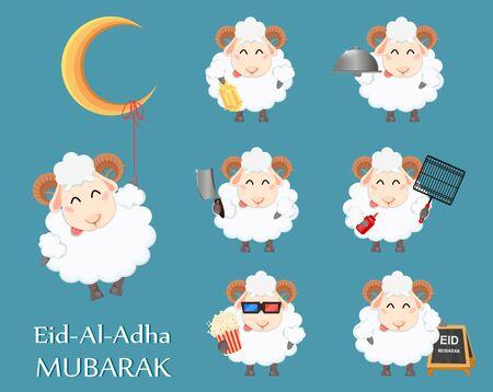 Eid al Adha Mubarak greeting card. Funny cartoon ram, set of seven poses. Traditional Muslim holiday. Vector illustration