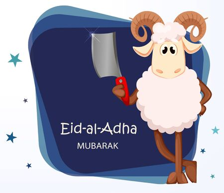 Eid al Adha Mubarak greeting card with funny ram holding cleaver. Traditional Muslim holiday. Vector illustration on abstract background Иллюстрация