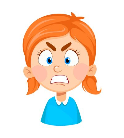 Face expression of cute little girl, angry. Emotion of pretty girl cartoon character. Vector illustration isolated on white background