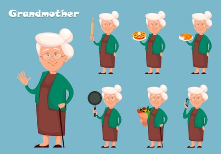 Grandmother cartoon character, set of seven poses. Happy Grandparent's day. Vector illustration on blue background Illustration