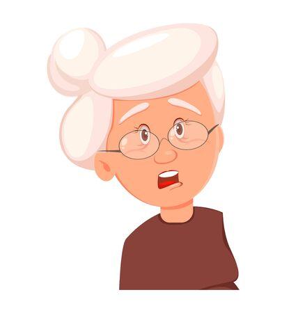 Expression du visage de grand-mère, effrayée. Émotion de vieille femme. Illustration vectorielle sur fond blanc