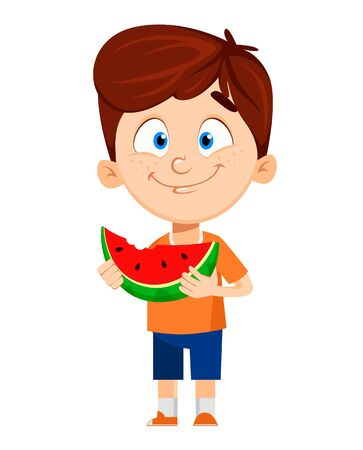 Boy cartoon character. Cute funny child eating watermelon. Fun concept. Happy kid. Colorful vector illustration.