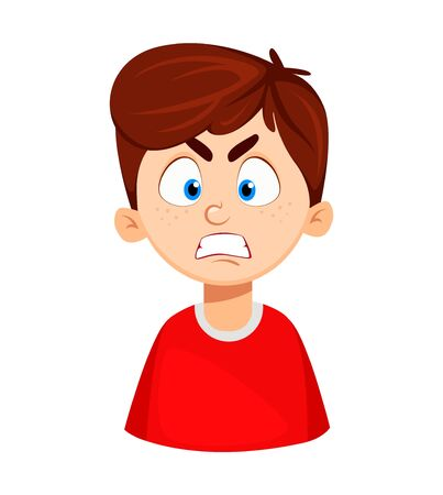 Face expression of cute boy, angry. Emotion of a child. Vector illustration on white background Иллюстрация