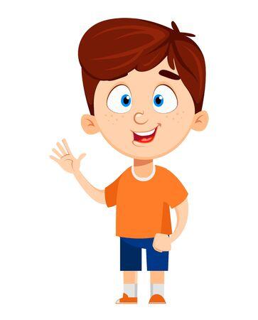 Junge Zeichentrickfigur. Nettes lustiges Kind, das Hand winkt. Spaß-Konzept. Glückliches Kind. Bunte Vektorillustration.