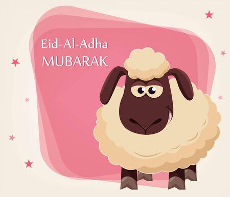 Eid al-Adha Mubarak. Traditional Muslim holiday. The sacrifice of a ram. Kurban bayrami. Vector illustration. Иллюстрация