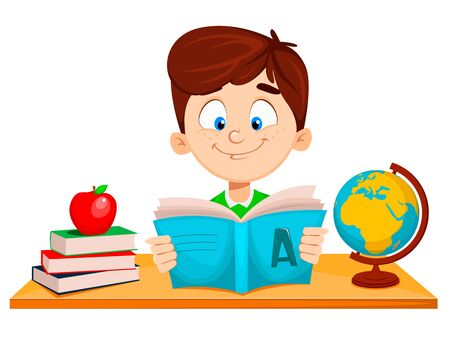 Back to school. Cute boy sitting at the table and reading ABC book. Funny cartoon character. Vector illustration.