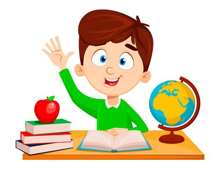 Back to school. Cute boy sitting at the table and reading ABC book. Funny cartoon character waving hand. Vector illustration.