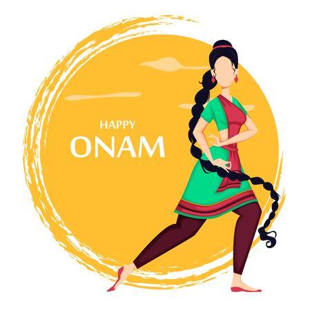 Feliz festival de Onam en Kerala. Hermosa mujer india bailando con ropas tradicionales. Ilustración de vector sobre fondo naranja