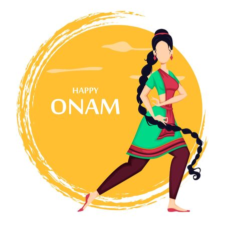Happy Onam festival in Kerala. Beautiful Indian woman dancing in traditional clothes. Vector illustration on orange background