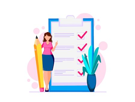 Woman planning month, to do list. Modern businesswoman cartoon character. Vector illustration